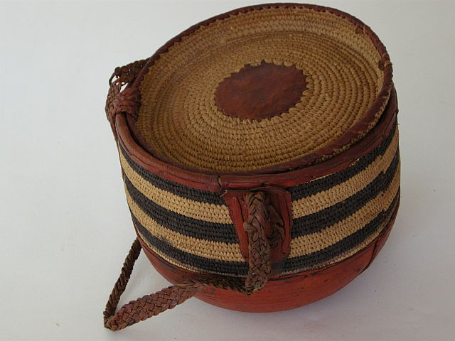 Coiled basket with leather and lid collection of Jenny Balfour Paul