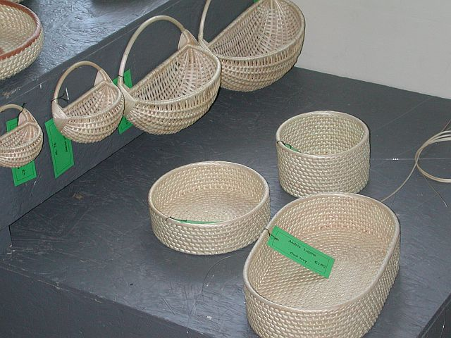 A small selection of Andris Lapin's skeined willow baskets