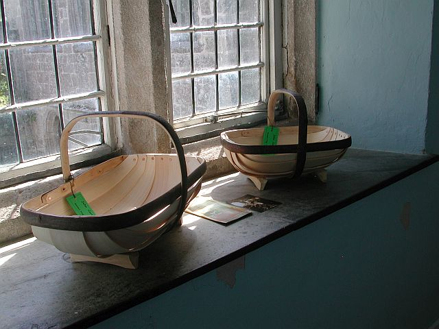 Two of John's Sussex trugs on the windowsill