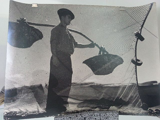 Azores traditional fish seller with baskets